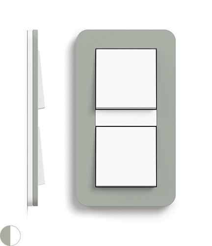 Gira E3 Grey Green Switch with Socket